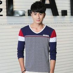 Neptuno - Striped Color Block Long-Sleeve T-Shirt
