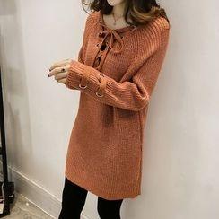 Little V - Lace-Up Knit Dress