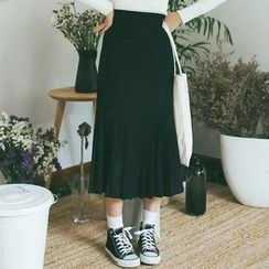 TREEZIN - Pleated Knit Long Skirt