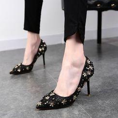 Chryse - 碎花缀饰尖头高跟鞋