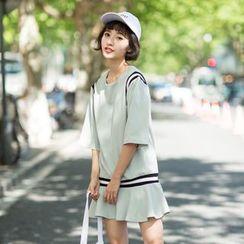 SUYISODA - Stripe Ruffle Hem Short-Sleeve Dress