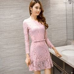 Lavogo - Long-Sleeve A-Line Lace Dress