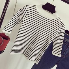 Honeydew - Striped Elbow Sleeve Mock Neck Knit Top