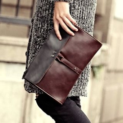 BagBuzz - Two-Tone Faux Leather Clutch
