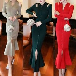 Fashion Street - Cutout Shoulder Long-Sleeve Dress