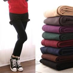Clair Fashion - 内刷毛贴腿保暖提臀九分裤