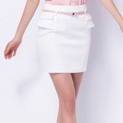 O.SA - Ruffle-Trim Pencil Skirt