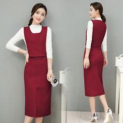 EFO - 套裝:長袖上衣 + 馬甲 + 鉛筆裙