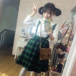 doudou - Plaid Jumper Skirt