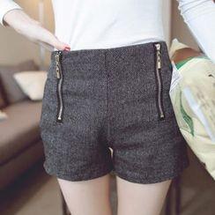 Tokyo Fashion - Elastic-Waist Dual-Zip Shorts