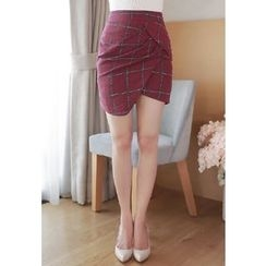 MyFiona - Asymmetric-Hem Plaid Mini Pencil Skirt