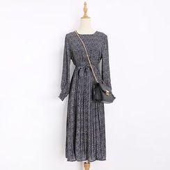 Katie Bloom - Printed Long Sleeve Chiffon Dress