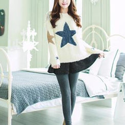 Bongjashop - Inset Skirt Fleece-Lined Leggings