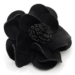 t. watch - Black Leather Flower Charm