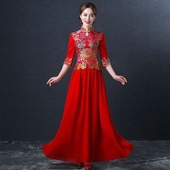 Royal Style - Embroidered 3/4-Sleeve Wedding Cheongsam