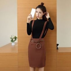 Ashlee - Set: Long-Sleeve Knit Top + Suspender Skirt