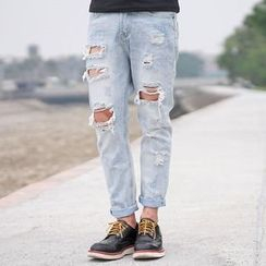 SeventyAge - Straight Fit Distressed Jeans