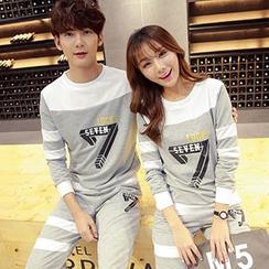 Tabula Rasa - Couple Matching Number Colour Block Sweatshirt + Sweatpants