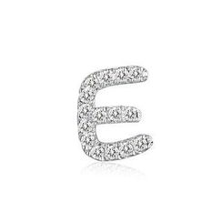 MBLife.com - Left Right Accessory - 9K White Gold Initial 'E' Pave Diamond Single Stud Earring (0.03cttw)