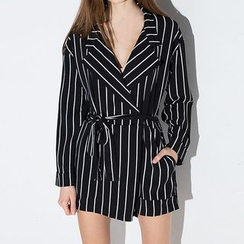 Richcoco - Pinstripe V-neck Playsuit