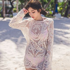 Sewwi - Flower Embroidered Mesh Cover Up