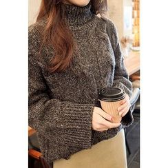 CHERRYKOKO - Turtle-Neck Cable-Knit Sweater
