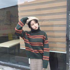 Clair Fashion - 韩版复古撞色条纹高领毛衣