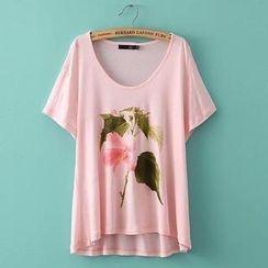 JVL - Short-Sleeve Dip-Back Print T-Shirt
