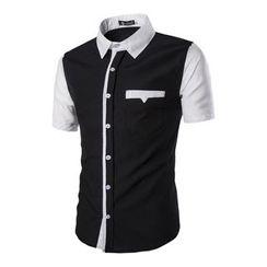 Hansel - Short-Sleeve Color Block Shirt