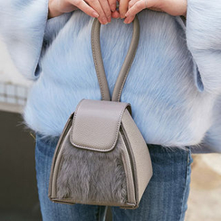 chuu - Faux-Fur Panel Trapezoid Hand Bag
