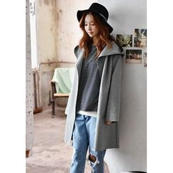 GOROKE - Hood Open-Front Wool Blend Coat
