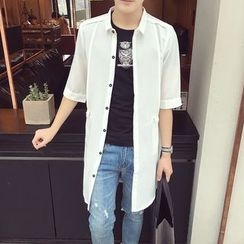 Prep Soul - Elbow-Sleeve Plain Long Shirt
