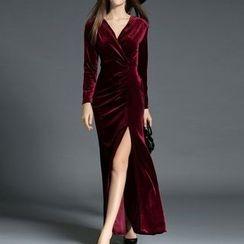 Fashion Street - V-Neck Side Slit Long Sleeve Maxi Dress