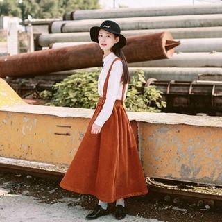 tete - Corduroy Suspender A-Line Skirt