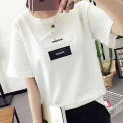Fashion Street - Lettering Applique Short Sleeve T-Shirt