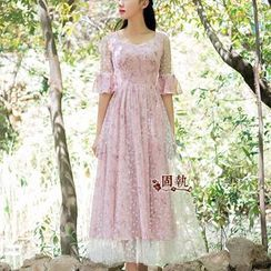 GU ZHI - Short-Sleeve Paneled Printed Long Dress