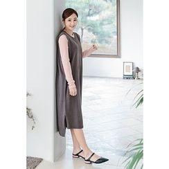 REDOPIN - Round-Neck Sleeveless Knit Dress