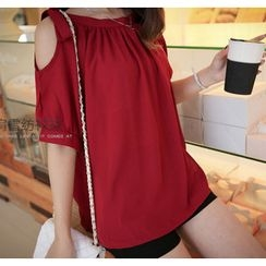 YOZI - Off-Shoulder Elbow-Sleeve Chiffon Top