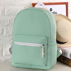 I.O.U - Plain Faux Leather Backpack