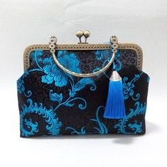 Bling Bag - Patterned Tasseled Clipframe Handbag