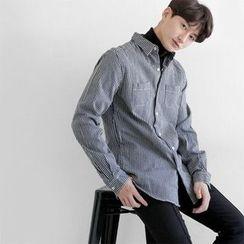 Seoul Homme - Dual-Pocket Stripe Shirt
