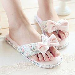 BEANS - Floral Print Bow Flip-Flops
