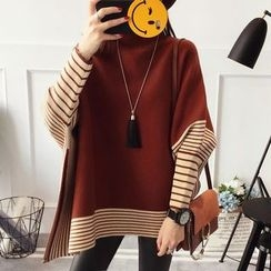Qimi - Striped Batwing-Sleeve Sweater