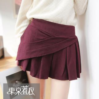 Tokyo Fashion - Elastic-Waist Layered Pleated Culottes