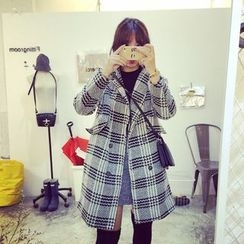 Eva Fashion - Plaid Double-Breasted Coat