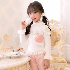 Candy Rain - Kids Swan Applique Lace Trim Long Sleeve Top