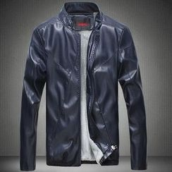 Bay Go Mall - Fleece-lined Faux Leather Jacket