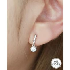 Miss21 Korea - Rhinestone Dangle Silver Earrings