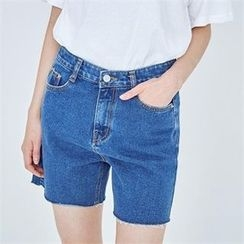 MAGJAY - Fray-Hem Denim Shorts