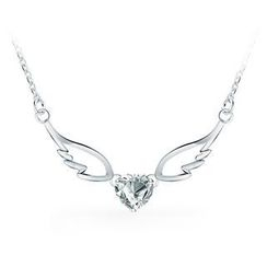 BELEC - 925 Sterling Silver Angel Wings Pendant with White Cubic Zircon Necklace
